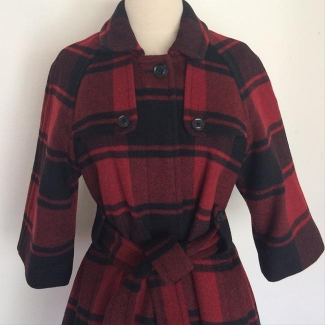 Gap Plaid Wool Belted Pea Coat