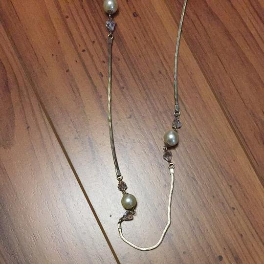 Other Vintage Faux Pearl And Crystal Necklace