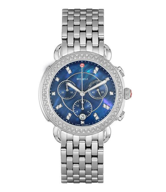 Item - Silver Sidney Blue Mother Of Pearl Diamond Mww30a000009 Watch