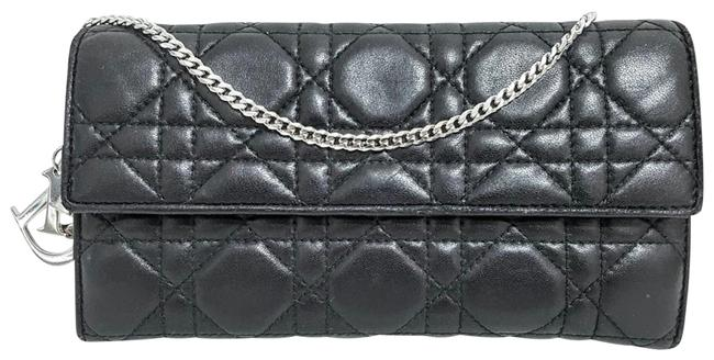 Item - Lady Cannage Quilted Wallet Black Silver Lambskin Leather Shoulder Bag