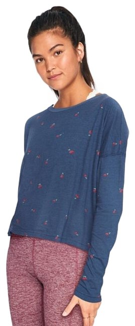 Item - Navy Red | Girlfriend Long Sleeve Cropped Tee Shirt Size 2 (XS)