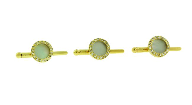 Item - Yellow Gold Vintage Diamonds and Of Pearl Studs In 18k