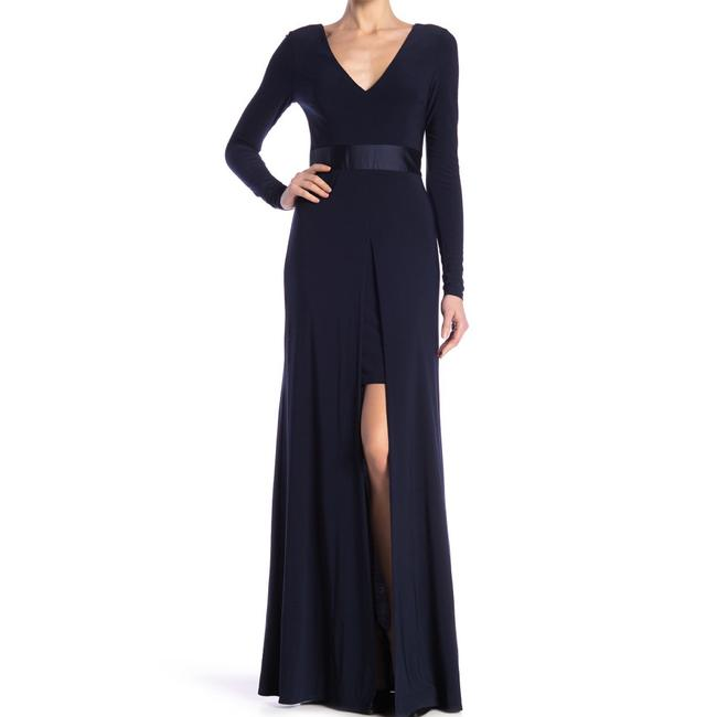 Item - Navy V-neck Sleeves Gown Long Formal Dress Size 6 (S)