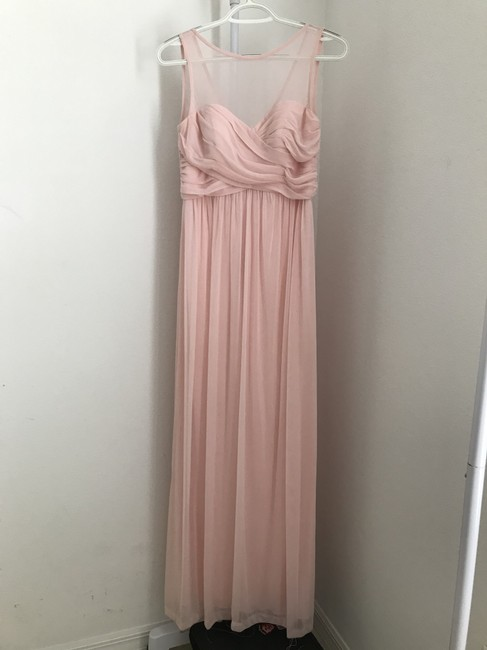 David's Bridal Petal Pink Polyester Long with Illusion Neckline (F15927) Feminine Bridesmaid/Mob Dress Size 4 (S) David's Bridal Petal Pink Polyester Long with Illusion Neckline (F15927) Feminine Bridesmaid/Mob Dress Size 4 (S) Image 1