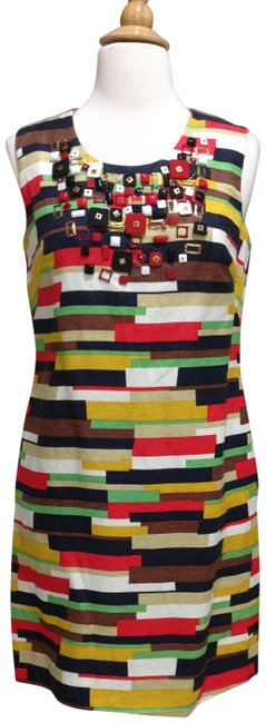 Item - Black/Yellow/Red/ Multi Color Print Sleeveless Sheath Mid-length Cocktail Dress Size 2 (XS)