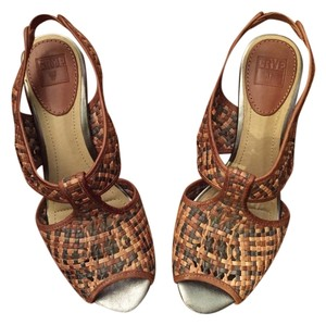 Frye New Leather Metallic Bamboo Heel Dark brown, light brown, tan, neutral Sandals