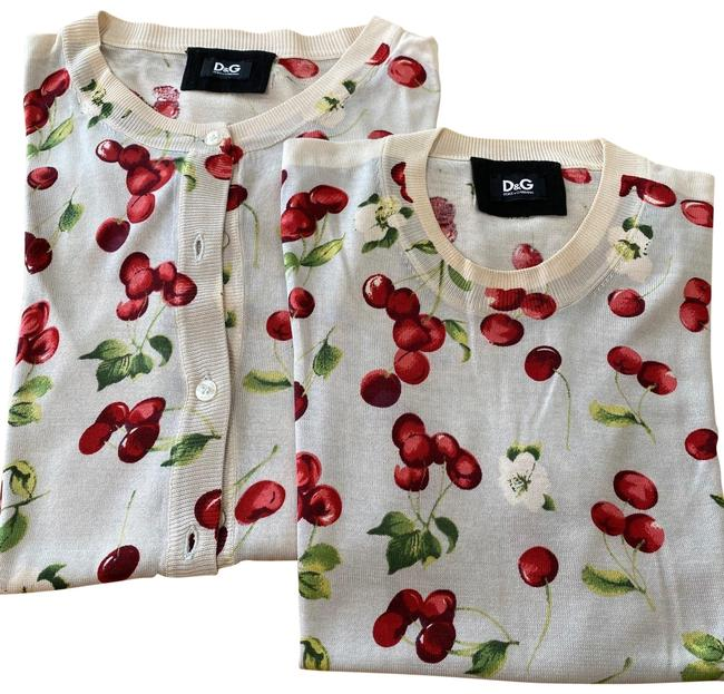Item - Beige with Cherries Twinset Silk Cardigan Size 2 (XS)
