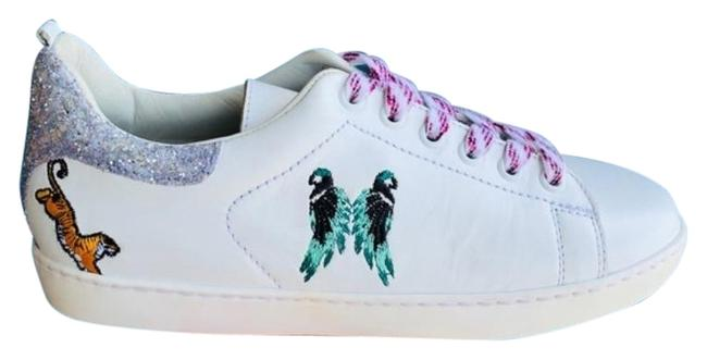 Maje White Silver Funny Low Top Leather Embroidered Sneakers Size US 7 Regular (M, B) Maje White Silver Funny Low Top Leather Embroidered Sneakers Size US 7 Regular (M, B) Image 1