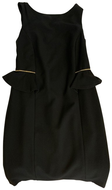 Item - Black with Gold Trim On The Sides Mid-length Cocktail Dress Size 2 (XS)