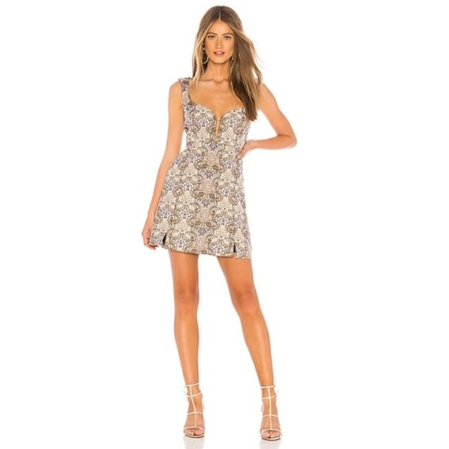 Item - Ivory Brocade Tapestry Mini Short Night Out Dress Size 2 (XS)