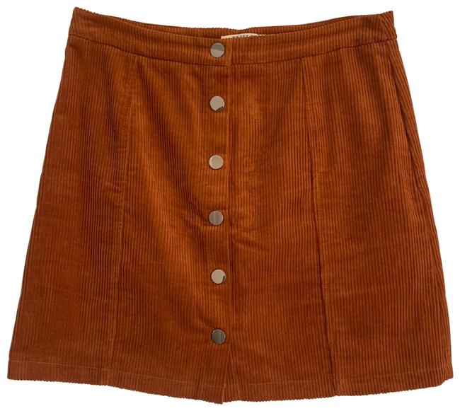 Item - Red Rust Chestnut Corduroy Button A-frame Skirt Size 12 (L, 32, 33)