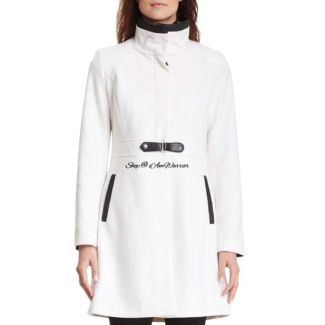 Item - Ivory Black Stand Up Collar Wool Blend Coat Size 10 (M)