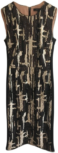 Item - Black Gold White Larisa Sleeveless Fitted Sequin Mid-length Cocktail Dress Size 2 (XS)