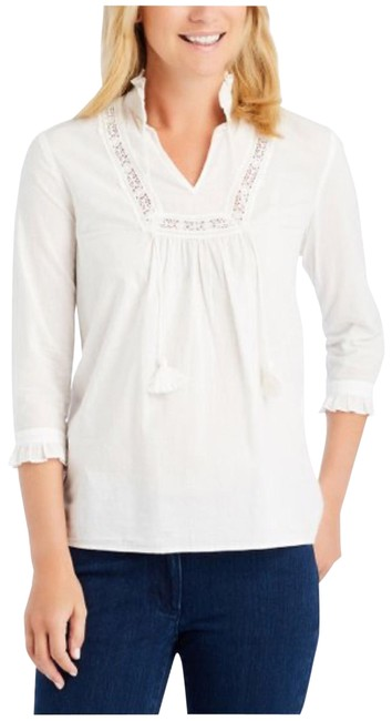 Item - White Arabella Peasant Embroidered Blouse Size 4 (S)