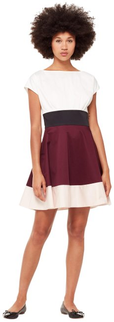 Item - White/Maroon/Pink Colorblock Fiorella Short Cocktail Dress Size 8 (M)