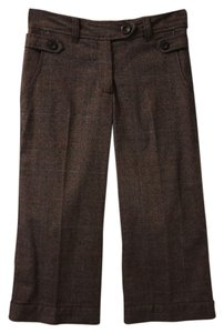 H&M Cropped Trouser Pants Brown tweed