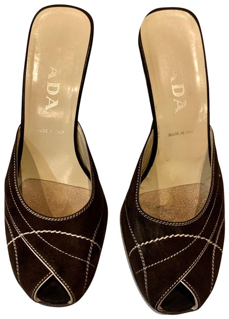 Item - Black with White Piping Mules In Leather Platforms Size EU 37.5 (Approx. US 7.5) Regular (M, B)