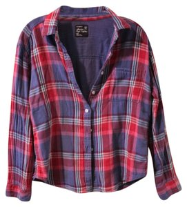 American Eagle Outfitters Flannel Button Down Shirt Pink/Blue/Purple multi