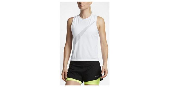 Item - White/Silver Womens City Core Dry Racerback Running- Athletic Activewear Top Size 12 (L)