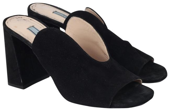 Item - Black Suede Heel Slip On Heels Mules/Slides Size US 5 Regular (M, B)