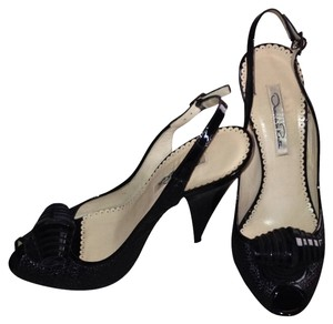 Oscar de la Renta Weave Texture Accent Made In Italy Black Pumps