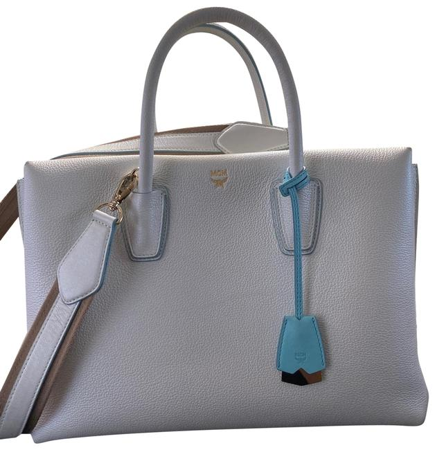 Item - Large Color Met7sma03wf001 White/Silver and Blue Leather Tote