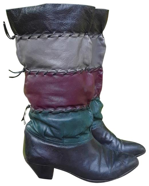 Item - Multi-color Vintage Patchwork Leather Slouchy Boots/Booties Size US 7 Regular (M, B)
