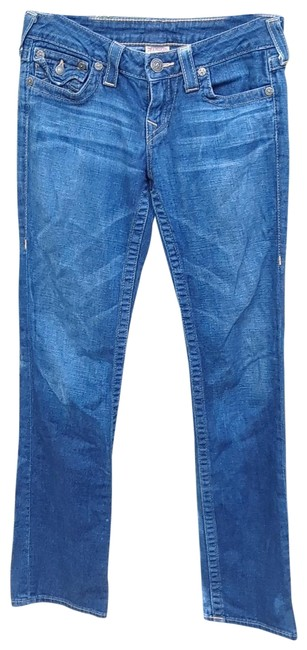 Item - Blue Distressed Low Soft Straight Leg Jeans Size 28 (4, S)