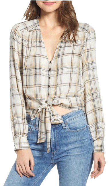 Item - Birch/Alabaster-reeves Plaid Alynna Front Shirt Button-down Top Size 12 (L)