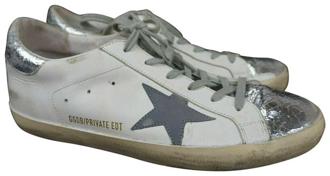 Item - White Superstar Leather Silver Trim Women's Sneakers Size EU 40 (Approx. US 10) Regular (M, B)