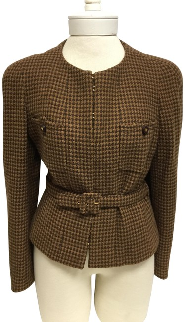 Item - Brown Houndstooth Fitted Jacket with Self Belt Blazer Size 6 (S)