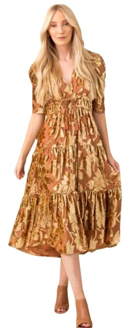 Item - Gold Loretta Mid-length Formal Dress Size 0 (XS)