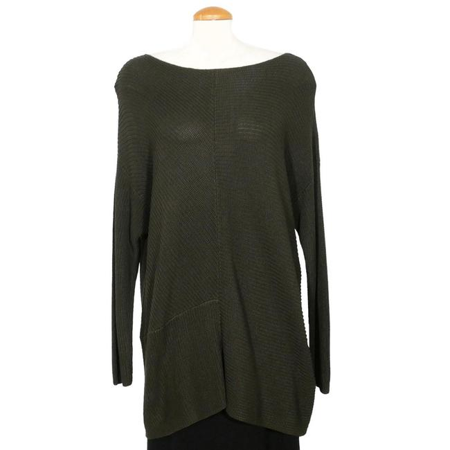 Item - Cotton Blend Ribbed Panel Tunic Green Sweater