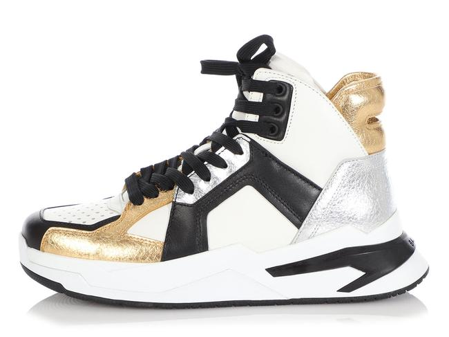 Item - White Black Silver and Gold Leather B-ball High-top Sneakers Size EU 39 (Approx. US 9) Regular (M, B)