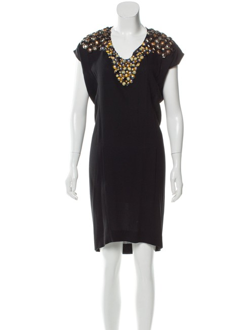 Item - Black Bronze Silver Yves Edition 24 Beaded Short Cocktail Dress Size 2 (XS)