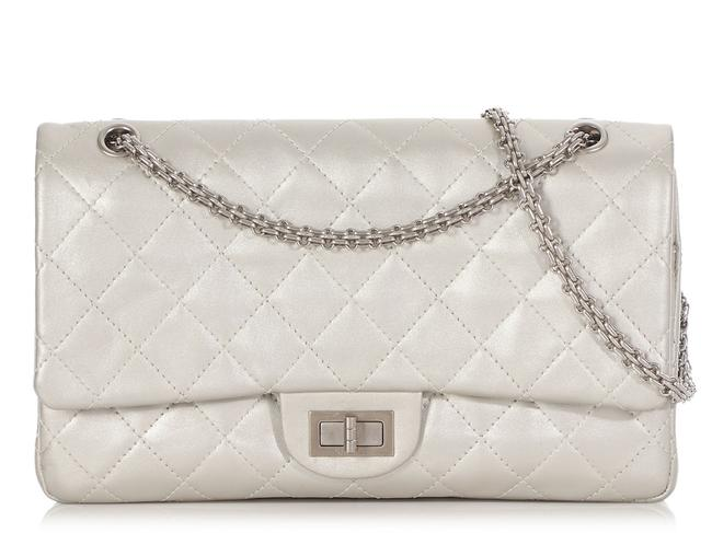 Chanel 2.55 Reissue 227 Quilted Silver Calfskin Leather Shoulder Bag Chanel 2.55 Reissue 227 Quilted Silver Calfskin Leather Shoulder Bag Image 1