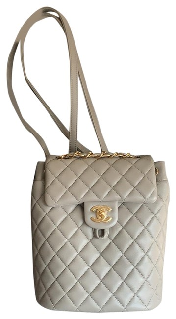 Item - Mini Cc Grey and Gold Hardware Lambskin Leather Backpack