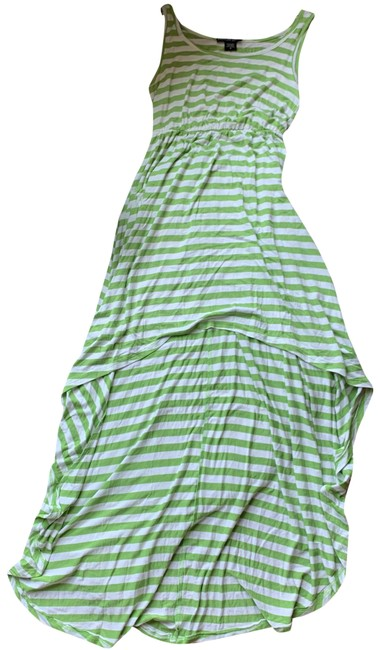 Item - Green & White Striped Hi-low Long Casual Maxi Dress Size 4 (S)