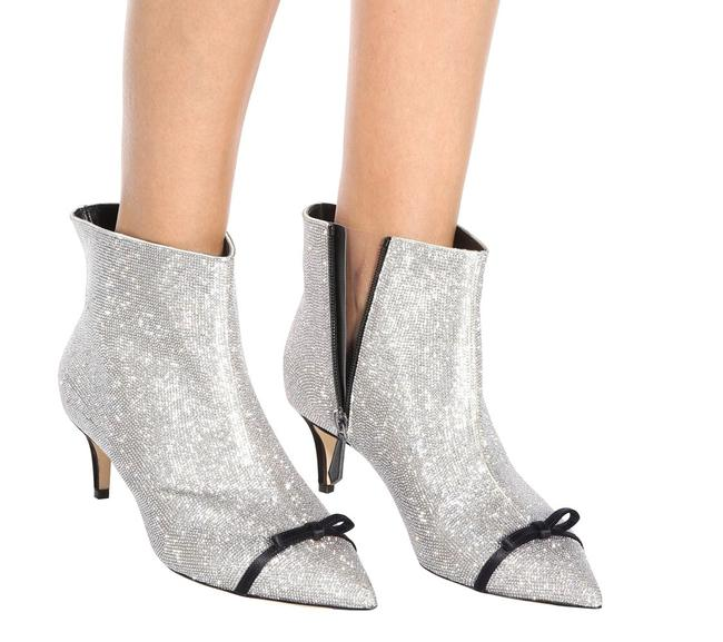 Item - Silver New Runway Crystal Embellished Leather Ankle Boots/Booties Size EU 40 (Approx. US 10) Regular (M, B)