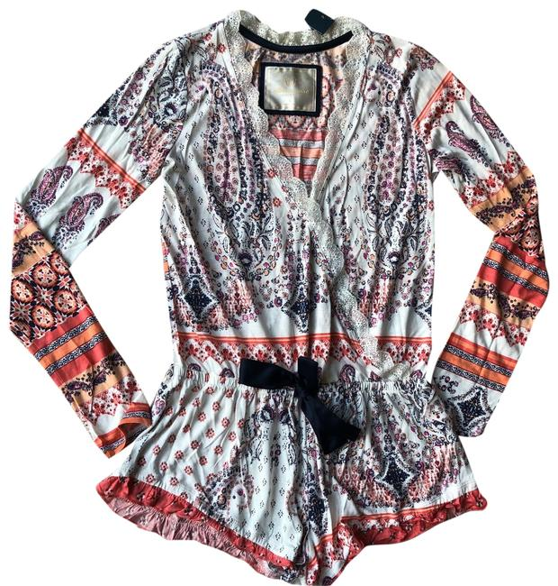 Item - Multi Color A&f Floral Lace Romper Sleep Wear Tee Shirt Size 4 (S)