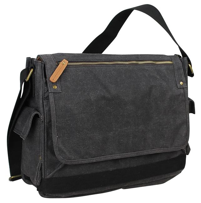 "Vagarant 15"" Vintage Cotton Wax Laptop C31lw Grey Canvas Messenger Bag Vagarant 15"" Vintage Cotton Wax Laptop C31lw Grey Canvas Messenger Bag Image 1"