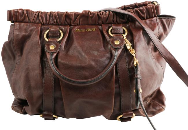 Item - Vitello Lux Gathered Brown Leather Tote