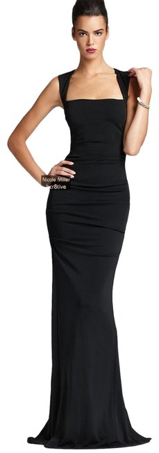 Item - Black Felicity Open Square-neck Sleeveless Column Gown Long Formal Dress Size 2 (XS)