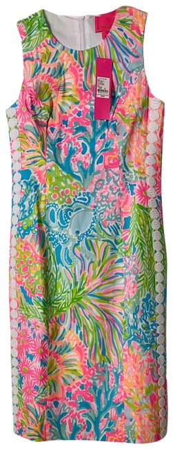 Lilly Pulitzer Pink Multi Mika Stretch Mid-length Short Casual Dress Size 00 (XXS) Lilly Pulitzer Pink Multi Mika Stretch Mid-length Short Casual Dress Size 00 (XXS) Image 1