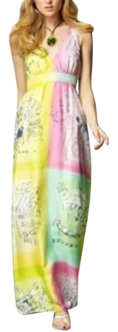 Item - Pink Green Petra Novelty Silk Long Casual Maxi Dress Size 0 (XS)