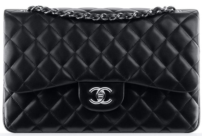 Item - 2.55 Reissue Double Flap Classic Jumbo Quilted Cc Logo Cross Black Silver Lambskin Leather Shoulder Bag