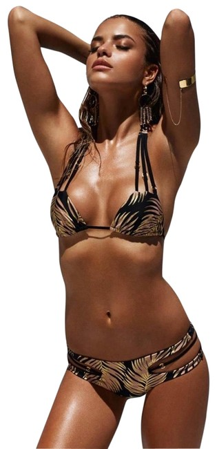 Item - Gold/Black 3pc Palm Leaf Reversible Bikini Set Size 8 (M)