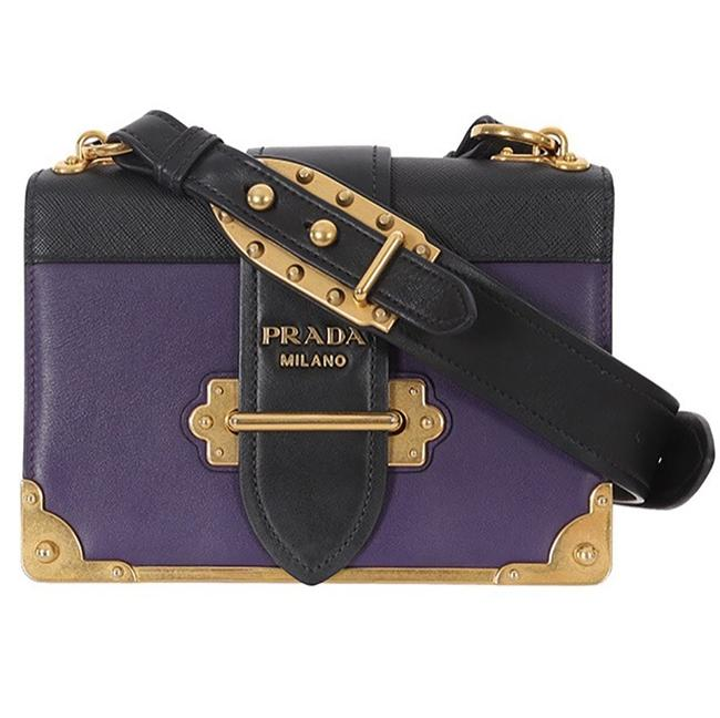 Prada Cahier City Calf Small Purple Leather Cross Body Bag Prada Cahier City Calf Small Purple Leather Cross Body Bag Image 1