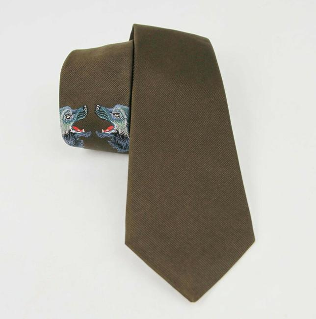 Item - Olive Green Silk with Two Embroidered Wolf Heads 495689 3200 Tie/Bowtie