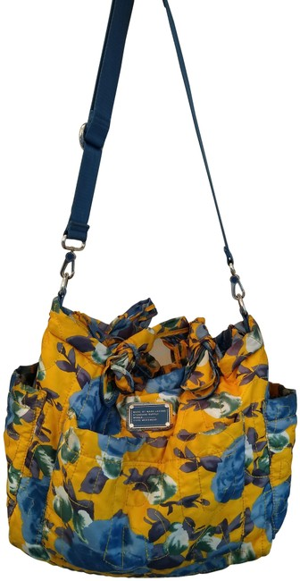 Item - Floral Standard Supply Workware Blue and Yellow Polyester Shoulder Bag